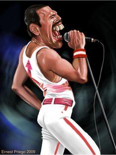 Dos grossos en uno. El dibujante y Freddie Mercury.  Artist: Ernesto Priego  website: http://dibustracion.blogspot.com/