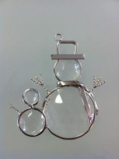 "Beveled Glass 4"" Snowman Ornament"