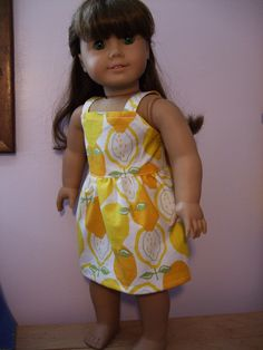 Charming Lemonade Sundress for 18 inch doll / American Girl doll clothes