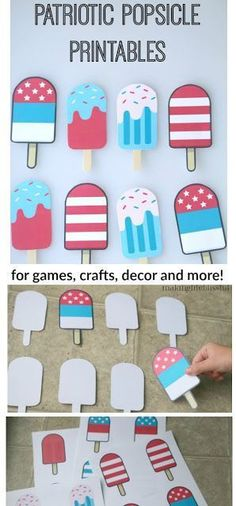 Patriotic Popsicle Printable for 4th of July and Memorial Day or any American party! Can be a memory match game too!