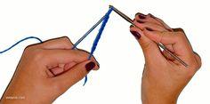 Ganchillo básico. Animación de cómo realizar un punto raso o enano.