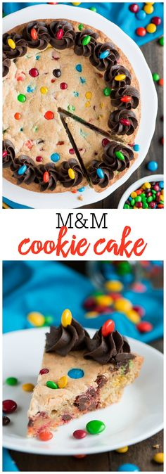 M&M Cookie Cake - Whether you have a reason to celebrate or not, this soft and chewy M&M COOKIE CAKE is the perfect dessert to enjoy with friends and family. A sugar cookie dough filled with M&M's and some chocolate buttercream frosting on top! YUM!