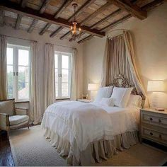 romantic bedroom. fabric idea over the bed.