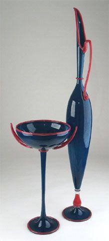 Dante Marioni glass vessel: Blue Pair