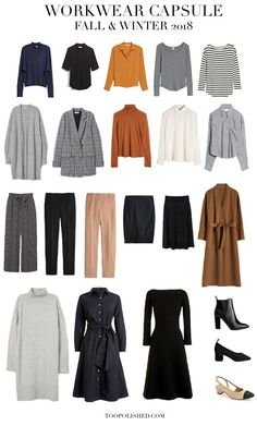 Fall & Winter Business Casual Capsule Wardrobe 2018 - Too Polished - Work Outfits Women Capsule Wardrobe 2018, Capsule Outfits, Fashion Capsule, Fall Wardrobe, Office Wardrobe, French Capsule Wardrobe, Wardrobe Ideas, Work Outfits, French Wardrobe Basics