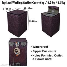 Appliance Covers Dream CareWashing Machine Cover For Fully Automatic Top Load  6 kg , 6.2 kg , & 6.5 kg Material: PVC Pattern: Printed Pack: Pack of 1 Product Length: 58 cm Product Breadth: 58 cm Product Height: 88 cm Country of Origin: India Sizes Available: Free Size   Catalog Rating: ★4 (374)  Catalog Name: Latest Home Appliance Covers CatalogID_1122953 C131-SC1624 Code: 082-7036933-336