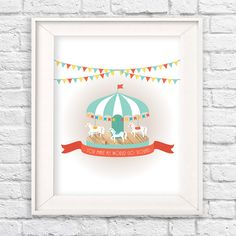 """Modern carousel wall art with quote, """"You make my world go 'round."""" Playful colors and unique wood texture makes a very cute modern nursery, Modern kids room, carnival nursery, carnival kids room, colorful wall decor, kids room decor, merry go round, carousel art, illustration, modern nursery, unisex nursery idea #teampinterest"""