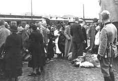 29 August 1942. Jews arriving at the Wiesbaden train station, about to be deported. Later the same day they were deported to Frankfurt, and on the 1st of September 1942, to Theresienstadt. Nearly all of them were later murdered in Auschwitz.