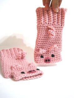 animal fingerless gloves pink pig by TomboDesigns on Etsy, $30.00