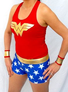 WONDER WOMAN inspired running shorts by iGlowRunning on Etsy, $36.00