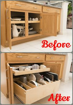 Increase access to your #KitchenCabinets by removing the center stile and installing custom #PullOutShelves and a pull out #TrayBin. No obstacles, just pure, unobstructed access to all that lies within! http://www.shelfgenie.com/