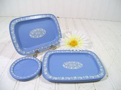 Vintage Petite Wedgwood Look Metal Trays & Matching Coasters - JasperWare Style Floral Design Set of 8 - Shabby Chic / BoHo Bistro Display $14.00  by DivineOrders on Etsy