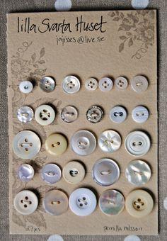 Vintage Button Cards Cream White