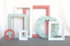 Coral Mint White Ornate Vintage Frames Upcycled Painted OPEN frames set of 7 Mint Nursery Coral Peach Mint Beach Cottage Coastal