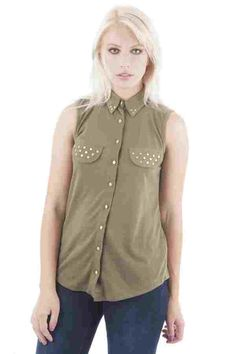 Khaki Sleeveless Studded Shirt (FD50138)£14.99