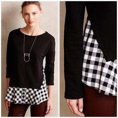 Anthropologie skirted plaid pullover Perfect black top from Everleigh. Great for colored pants/jeans. Worn a handful of times. Overall excellent condition. Offers welcome through offer tab. No trades. Anthropologie Tops