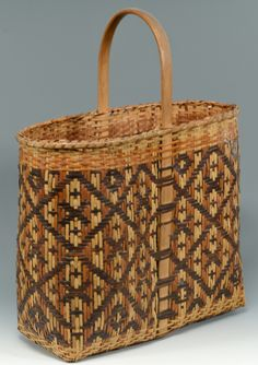 Early Cherokee River Cane basket, 1937