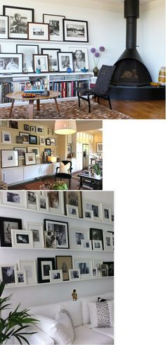 DECOR Gallery Wall for Living Room. Over a bookshelf, storage table, or sofa Bookshelf Storage, Table Storage, Bookshelves, Four Rooms, Home Projects, Master Bedroom, Photo Wall, Gallery Wall, Wall Decor