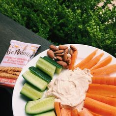 https://www.instagram.com/p/BM-mOS1BLjx/ snackssss - veggie plate with @chobaniau red pepper dip, almonds and a granola bar ☺️ sorry for all the posts it's just my food looks good today