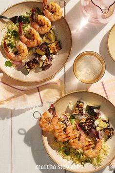Get a delicious dinner on the table fast tonight—all in, this recipe takes just 35 minutes! Shrimp, zucchini, onions, and lemon are lightly charred on a grill, then served alongside couscous with feta for a dish that simply says summer. #marthastewart #recipes #recipeideas #seafoodrecipes #seafooddinners #seafood Best Shrimp Recipes, Fish Recipes, Seafood Recipes, Dinner Recipes, Shrimp Salad, Le Diner, Scampi, Coconut Shrimp, Couscous