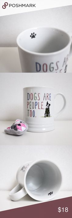 """Dog Lover Mug & Keychain This listing includes an adorable mug that reads """"Dogs are people too"""". Perfect for dog lovers! From Fringe Studio, about 4 inches tall. Only used about a couple of times, looks basically new. This listing also includes a a cute little plush keychain. Modcloth Other"""