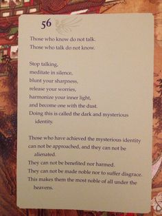 #wisdom from the Tao Te Ching