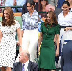 DukeDuchess of Sussex on March 28 2020 6 people people standing Duchess Kate, Duchess Of Cambridge, Meghan Markle, Kate Middleton Wimbledon, Kate And Harry, Kate Dress, Kate And Meghan, Her Majesty The Queen, Royal Dresses