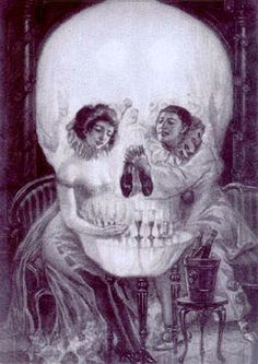 Skull illusion. Take a close look at this image. Do you see a couple or a skull?