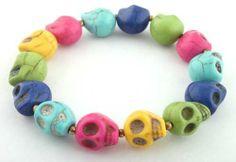 Multi Color Semi-precious Stretch Skull Bracelet JOTW. $2.95. Light Weight!. 100% Satisfaction Guaranteed!. Great Quality Jewelry!