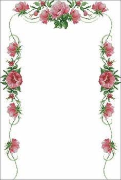 This Pin was discovered by Göz Cross Stitch Borders, Cross Stitch Flowers, Cross Stitch Designs, Cross Stitch Patterns, Cross Stitch Embroidery, Embroidery Patterns, Amazing Flowers, Blackwork, Crochet