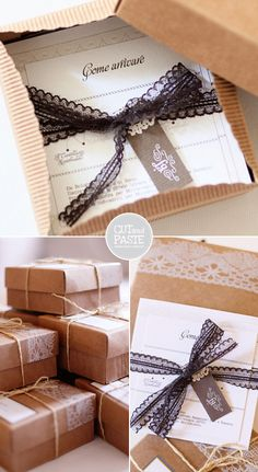 invites: a box filled of lavender or roses, a lace invitie... so lovely