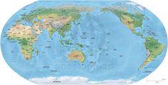 Map of World - Asia-Australia centered