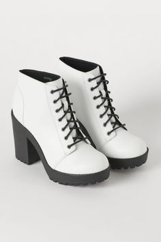 Platform Ankle Boots - White/faux leather H&M Platform Ankle Boots, High Heel Boots, Heeled Boots, High Heels, Shoes Heels Boots, White Shoe Boots, Lace Up Heel Boots, Aesthetic Shoes, Studded Heels