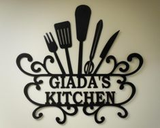"""""""Giada's Kitchen"""" - Personalized Kitchen Wall Art - kitchen wall decor - great decorating idea for your kitchen."""