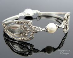 Antique Sterling Silver Spoon Bracelet, Lunt Monticello Pattern - Pearl
