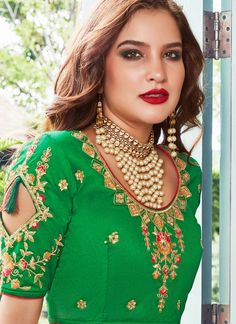 buy latest lehenga choli designs for party, wedding, marriage, reception or any events. This glorious embroidered, lace and resham work lehenga choli. Banarasi Lehenga, Choli Designs, Embroidered Lace, Hot Pink, Ethnic, Blouse, Fabric, Model, Color