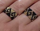 Black and Gold Seed Bead Ring