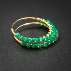 Green onyx earrings green onyx vermeil gold handmade bound