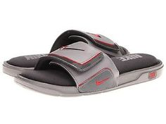 cdadfd02c35e6a Nike Comfort Sandals Slide 2 Mens Sandals Gray Grey Red Close Out ... Nike