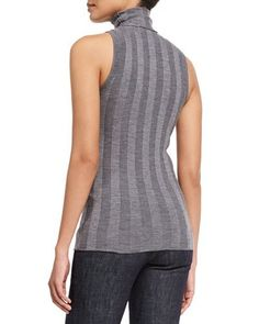 W0B93 Derek Lam Sleeveless Turtleneck Striped Sweater, Gray