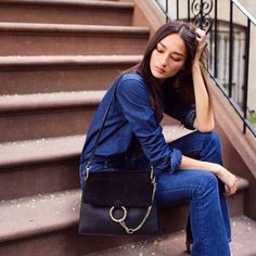 medium sized black Chloe Faye bag | suede flap | large metal ring & chain | retro | + denim head-to-do outfit | casual chic street style