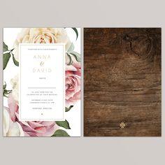 'Anna' floral wedding invitation - invitation page