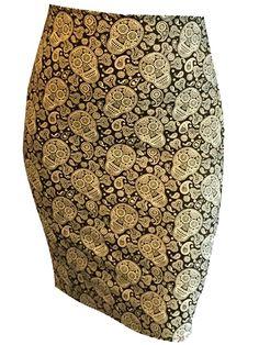 "Women's ""Sugar Skull"" Pencil Skirt by Switchblade Stiletto (Black) #Inkedshop #skirt #pencilskirt #skulls #paisley #cute"