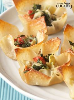 Warm Spinach & Artichoke Cups #recipe