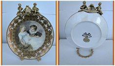 Piatto in porcellana di diametro 14,2x16,2 cm decorato con decoupage gafo