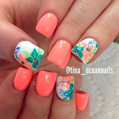 Girls like to decorate their nails, so if you want to find some new nail designs this season, look at the 15 Beautiful Spring Nail Arts That You Should Copy. It's time to find those bright and happy colors. The idea of spring nails is colorful and Cute Nail Art, Cute Nails, Pretty Nails, Diy Nails, Flower Nail Designs, Cute Nail Designs, Tropical Nail Designs, Coral Nail Designs, Tropical Nail Art