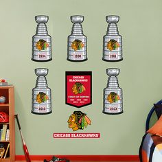 Chicago Blackhawks Stanley Cup Collection REAL.BIG. Fathead Wall Graphic | Chicago Blackhawks Wall Decal | Sports Home Decor | Hockey Bedroom/Man Cave/Nursery