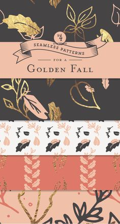 Golden Fall Seamless Pattern Collection - Designs By Miss Mandee. These gold foil embellished patterns would look so pretty as part of some wedding stationary or envelope liners! Download all four designs for FREE.