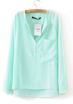 Light Blue Pockets Irregular Turndown Collar Chiffon Blouse