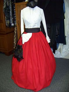 Dickens Civil War Christmas Long Skirt and Sash one size fit all Red Wool Blend fabric and green or Black Sash Handmade by civilwarlady on Etsy